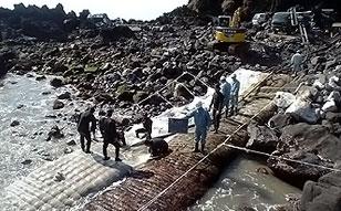海底ケーブル防護用コンクリートマット打設